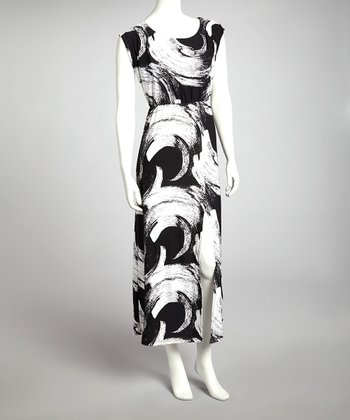 Black Brushstroke Maxi Dress
