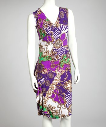 Purple Baroque V-Neck Dress