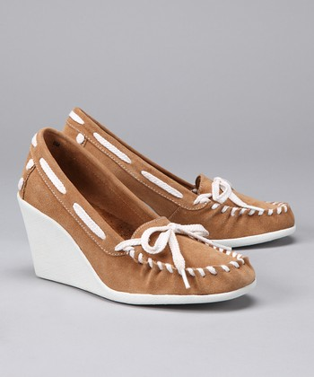 Hazelnut Tide Split Suede Wedge