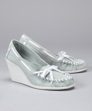 Light Blue Tide Split Suede Wedge