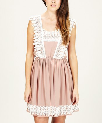 Mink & Cream Crochet Heidi Dress