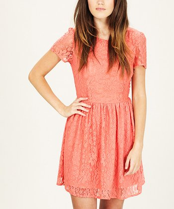 Coral Lace Bow Libby Dress
