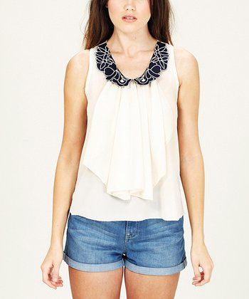 Cream & Navy Ruffle Sleeveless Top