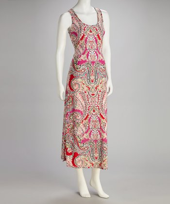 Red & Magenta Paisley Racerback Dress