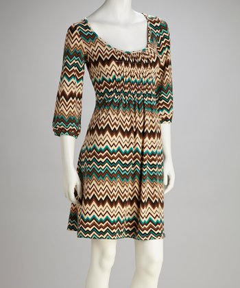 Green & Teal Zigzag Bell-Sleeve Dress