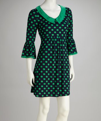 Green Polka Dot Peter Pan Collar Dress