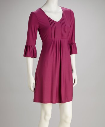 Fuchsia Bell-Sleeve Dress - Women