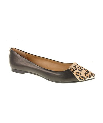Black & Leopard Calf-Hair Extra Credit Flat