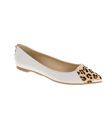 White & Leopard Calf-Hair Extra Credit Flat