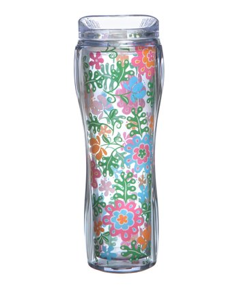 Green & Orange Flower 14-Oz. Hourglass Tumbler
