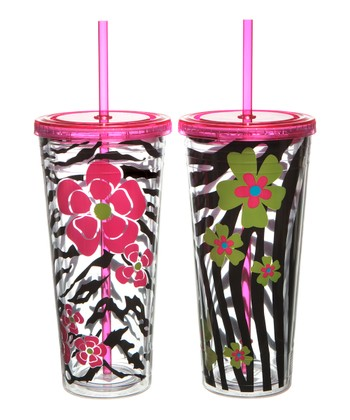 Pink Animal 22-Oz. Tumbler Set