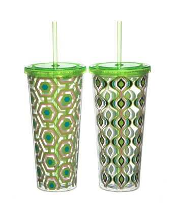 Green Geo 22-Oz. Tumbler Set