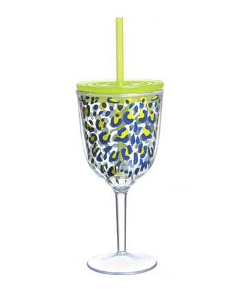 Blue Leopard 13-Oz. Wine Glass & Straw