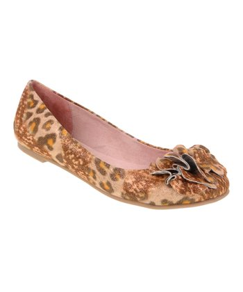 Orange & Brown Leopard Go Ahead Ballet Flat