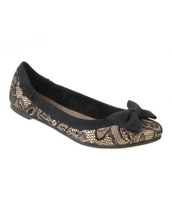 Beige & Black Masquerade Lace Good Chance Flat