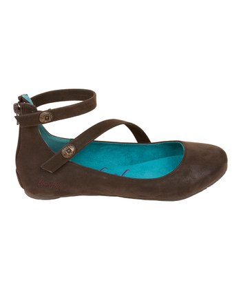 Dark Brown Fawn Panton Ankle-Strap Flats