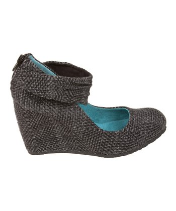 Black Dublin Tweed Ingrid Wedge