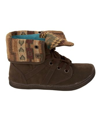 Dark Brown Fawn & Natural Tonto Razmitten Fold-Over Boot