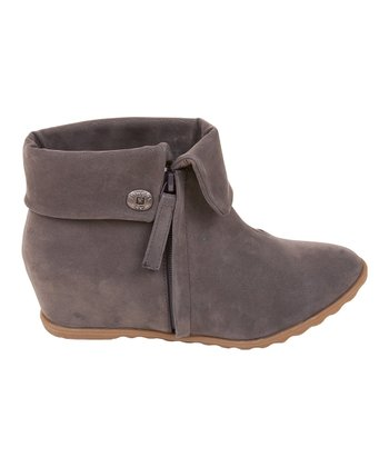 Gray Fawn Script Fold-Over Boot