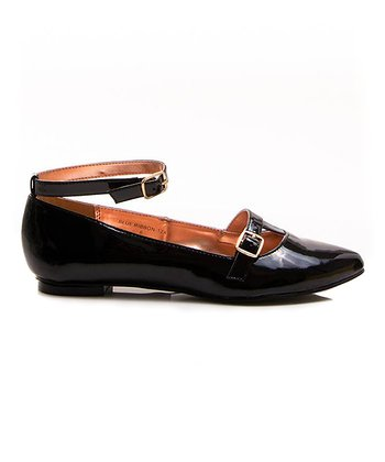 Black Patent Blue Ribbon 12X Flat
