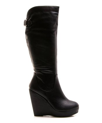 Black Buckle Full House 13 Wedge Boot