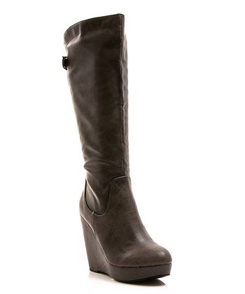Olive Buckle Full House 13 Wedge Boot