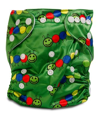 Fuzzy Caterpillar Double-Gusset Pocket Diaper