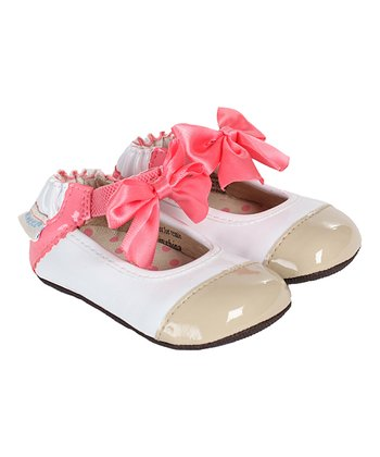 White & Pink Ankle Strap Shoe