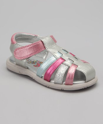 Silver & Pink Summertime Closed-Toe Sandal