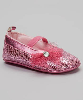 So Dorable Pink Rhinestone Flower Sequin Flat