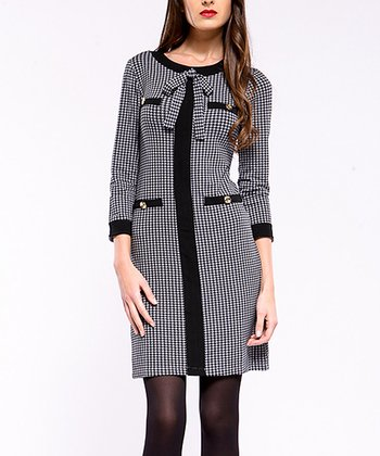 Black Houndstooth Bow Dress