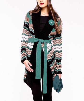 Green Pop Wool-Blend Long Belted Cardigan