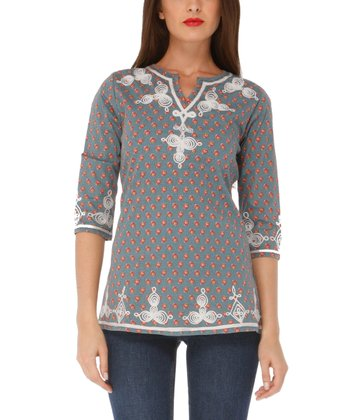 Gray Moon Embroidered Top