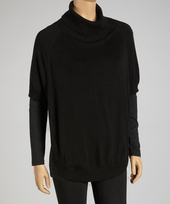 Black Cowl Neck Cashmere Blend Sweater