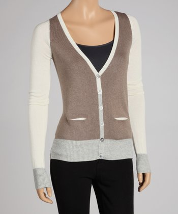 Porcini & White Color Block Cardigan