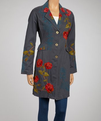 Blue Embroidered Rose Long Jacket