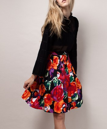 Black Floral Accordion Skirt
