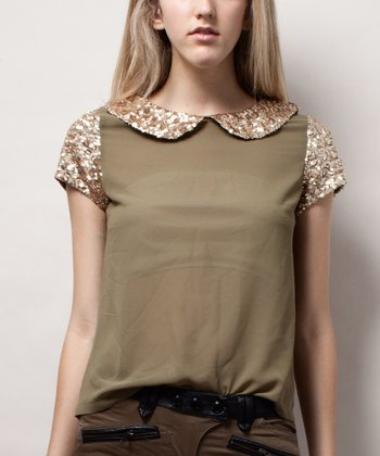 Olive Sequin Peter Pan Collar Top