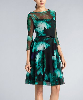Teal Floral Girlie Mesh Belted Dress
