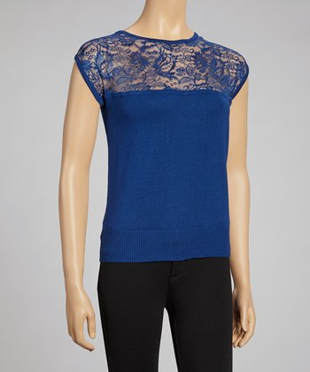 Peacock Lace-Top Cap-Sleeve Sweater