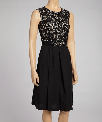Black & Ivory Lace-Top Belted Dress