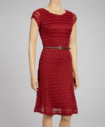 Wine Zigzag Knit Belted Dress