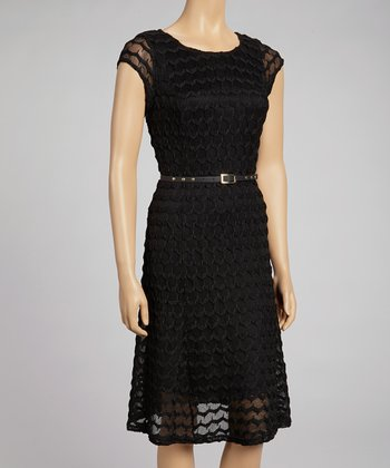 Black Zigzag Knit Belted Dress