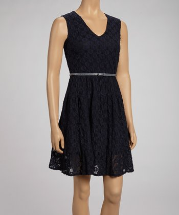 Navy Lace Belted Dress