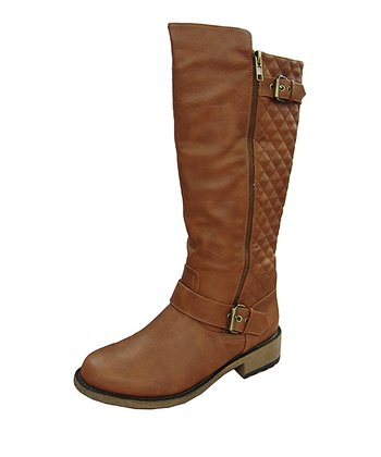Cognac Quilted Riding Boot