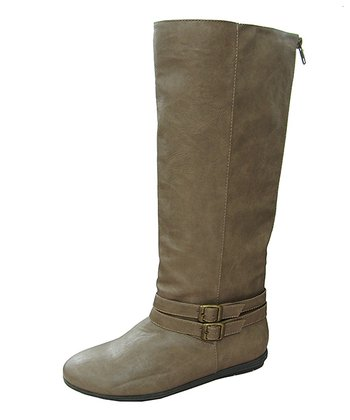 Taupe Ridge Buckle Boot