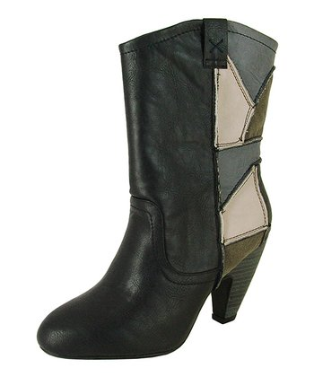 Black Rockin' Patch Ankle Boot