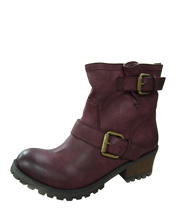 Eggplant Reactor Buckle Ankle Boot
