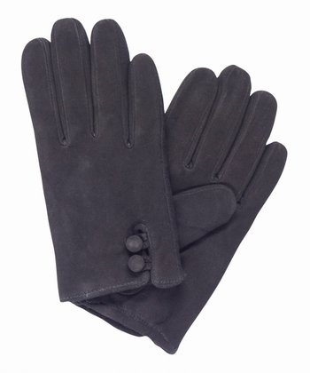 Black Emita Suede Gloves - Women