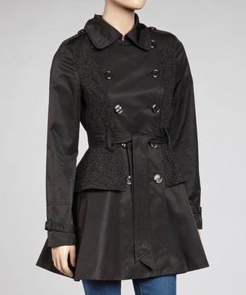 Black Tweed Faux Peplum Trench Coat